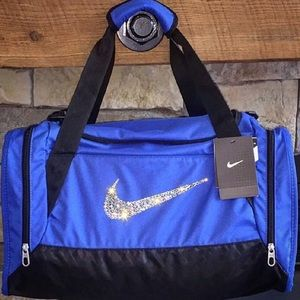 Handbags - Bling Swarovski Crystal Blue Nike Duffel